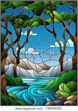 Illustration in stained glass style with a rocky Creek in the background of the Sunny sky mountains trees and fields