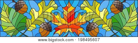 Illustration in stained glass style on the theme of autumn leaves oak maple aspen and acorns on a blue backgroundhorizontal orientation