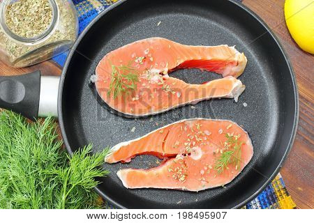Raw Fish In Pan Prepared For Cooking