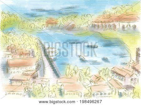 hvar croatia. abstract illustration of city on multicolor background