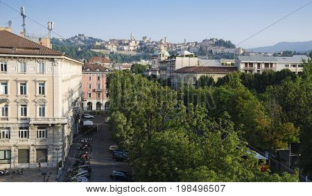 BERGAMO, LOMBARDY, ITALY. 2nd August 2017. The ancient walled city is increasingly popular with tourists, as a result of its proximity to the Italian Lakes and its Venetian defensive systems which were made a UNESCO World Heritage Site on 9 July 2017.