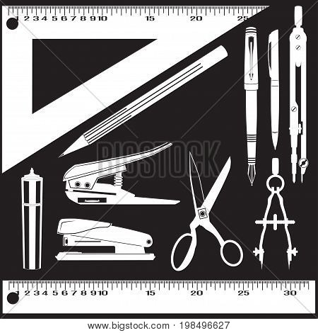 Vector set of whiter school and office supplies isolated on black background. Flat style design templates.