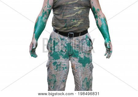 The body of a man in clothes, stained with green paint