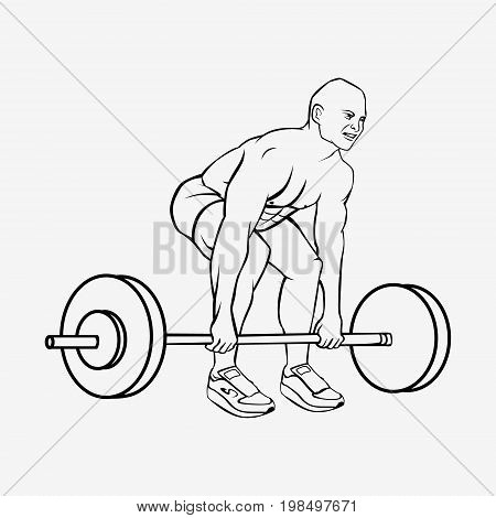 Bodybuilder Man Lifting Heavy Barbell