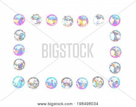 Rainbow silver isolated sparkling glittery gems abstract frame background