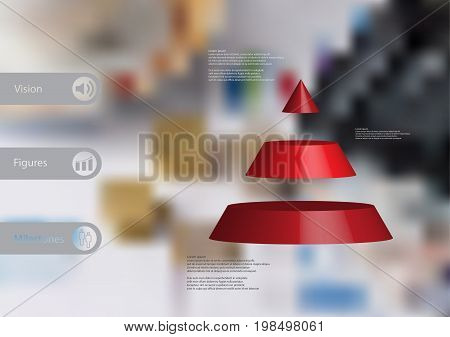 3D illustration infographic template with motif of cone triangle horizontally divided to three red slices with simple sign and sample text on side in bars. Blurred photo is used as background.