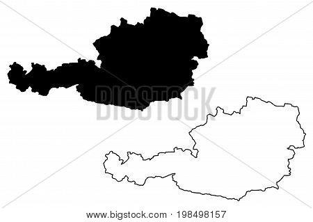 Austrian map vector illustration , scribble sketch Austrian map