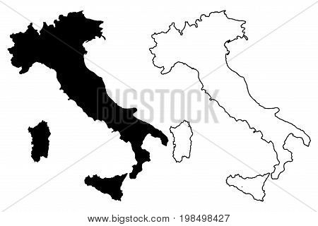 Italy map vector illustration , scribble sketch Italy