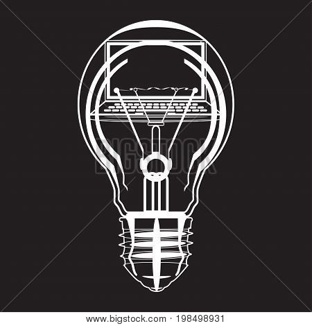 Laptop inside of light bulb black and white vector illustration. Creative idea software development computer and web technology concept in flat style.
