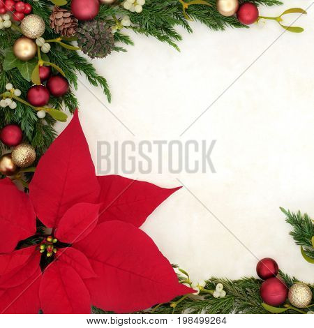 Christmas background border with poinsettia flower on parchment paper with gold and red bauble decorations, holly, mistletoe, ivy, fir and pine cones.