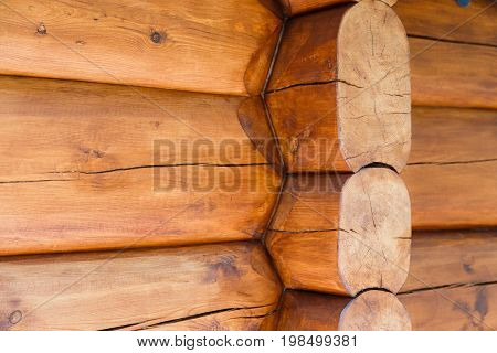 Details of cabin corner joint with round off logs. Canadian or scandinavian style
