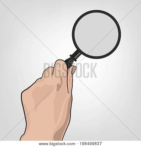 Hand with the magnifier.  Searching, detecting and analyzing concept. Vector illustration useful for search sign and icon isolated on light grey background.