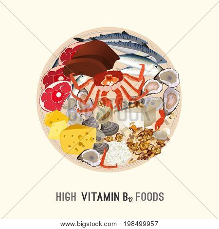 High vitamin B12 Foods. Healthy seafood, meat, fish, crab, clams, liver, cottage cheese and oysters on a roud plate. Vector illustration on a light beige background.