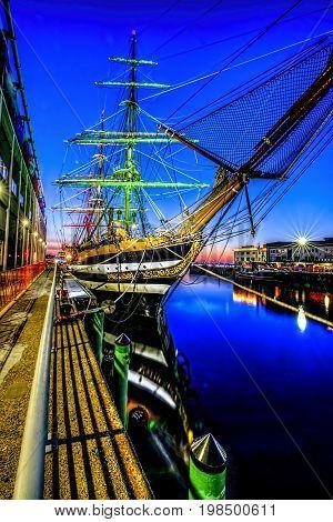 AMERIGO VESPUCC tall ship at dock at dawn