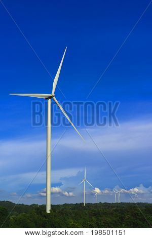 Clean Energy; Wind Turbine Generates Electricity In Agricultural Fields.