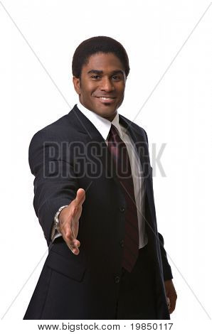 A handsome African-American man extends a handshake