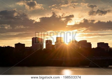 Panoramic view of Rosslyn, Virginia, during sunset.