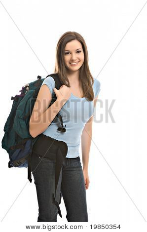 Pretty young female student carries backpack