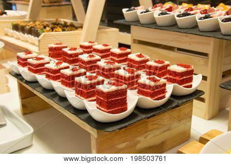 Mini cake delicious on white cup delicious dessert