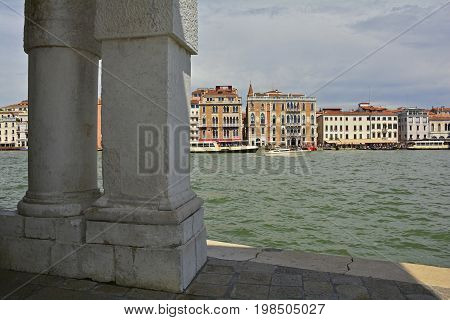 A view across the Grand Canal from the Punta Della Dogana in the Dorsoduro quarter of Venice