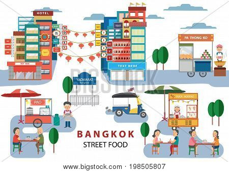 Street Food in Bangkok Thailand with cartoon flat design style illustration vector