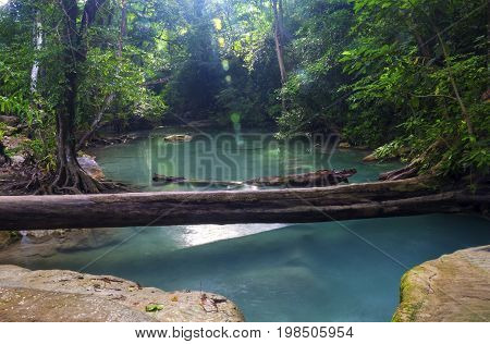 Erawan Waterfall, an outdoor waterfall in the evergreen forest.