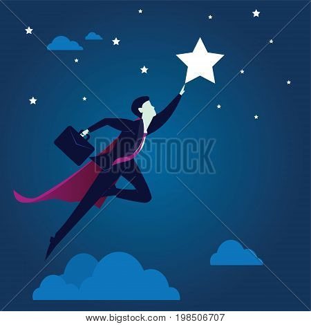 Vector illustration. Business vision concept. Super businessman flying high to reach star of success in the sky
