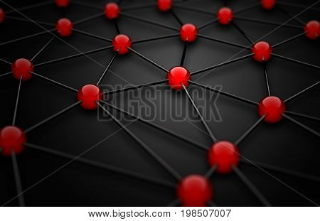 3D wireframe mesh with red connection points on black background - networking or teamwork concept