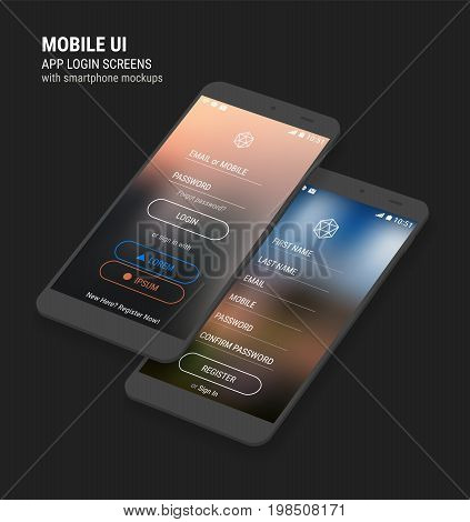 Trendy 3d responsive mobile UI app templates of login and registration with trendy blurred backgrounds and smartphone mockups