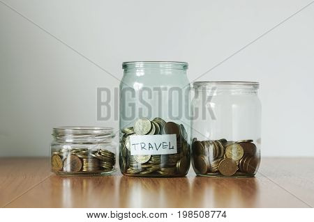 Coins In Glass Jars, Money Boxes, Travel Sticker