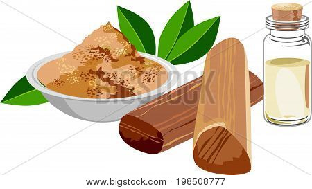 scalable Vector Illustration of Chandan or sandalwood powder with sandalwood sticks, perfume or oil and green leaves. white background