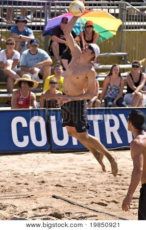 GLENDALE, AZ - SEPTEMBER 27: 2006 AVP Rookie of the Year Brad Keenan competes at the AVP Best of the Beach volleyball tournament in Glendale, Arizona.