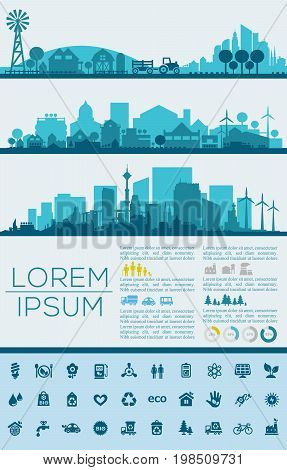Abstract stylish cityscape infographics. Infographics elements collection with town, city, farm and industrial districts, with infographics elements and industry icons