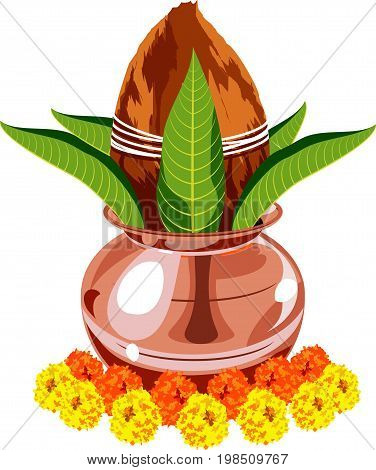 vector drawing or illustration of colourful flower arrangement or toran using marigold or zendu or genda flowers and mango leaf for hindu festival decoration