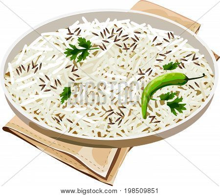 Vector illustration of authentic Indian cooked basmati rice or jeera rice showing all details, perfect design resource for any hotel menu card