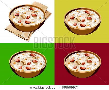 Scalable Vector illustration or artwork of Most famous Indian sweet pudding Kheer or semiya khir in a bowl.