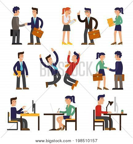 Vector concept cartoon character illustrations businessmen presentating a report, striking a target, searching information, talking with colleague, working with a computer, speaking by megaphone, saving his money etc