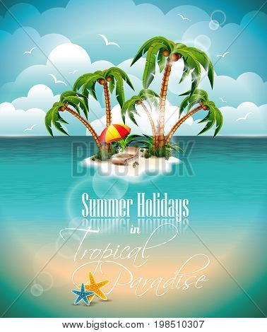 Vector Summer Holiday Design With Paradise Island On Blue Sea Background. Eps10 Illustration.