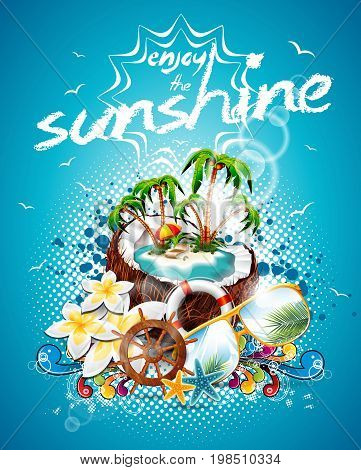 Vector Summer Holiday Flyer Design With Coconut And Paradise Island On Blue Background. Eps10 Illust