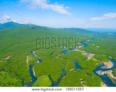 Aerial panorama view to Kamchatka rivers and tundra at Kamchatka peninsula Russia