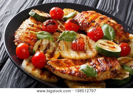 Mexican Bbq: Chicken Grilled Fillet With Vegetables In A Sweet-hot Sauce Close-up. Horizontal