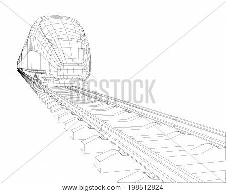 Abstract polygonal high-speed passenger train. Traveling concept. Vector illustration. Vector rendering of 3d. Wire-frame style