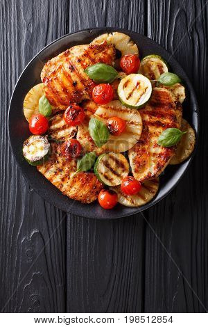 Chicken Fillet Grilled With Vegetables In A Sweet-hot Sauce Close-up. Vertical Top View