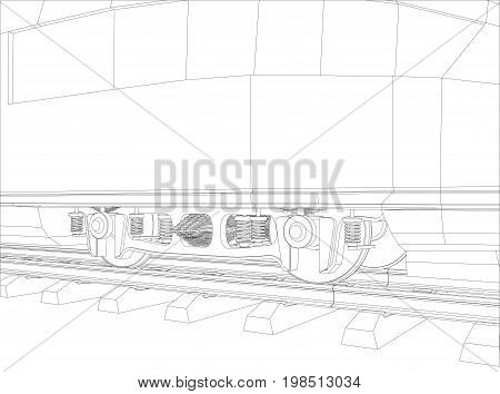 Wheel Of Train. Vector rendering of 3d. Wire-frame style