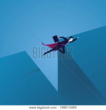 Business Challenge Concept. Super Businessman Flying Over Gap