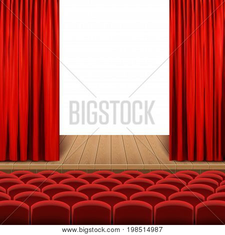 Theatrical stage red color vector illustration .