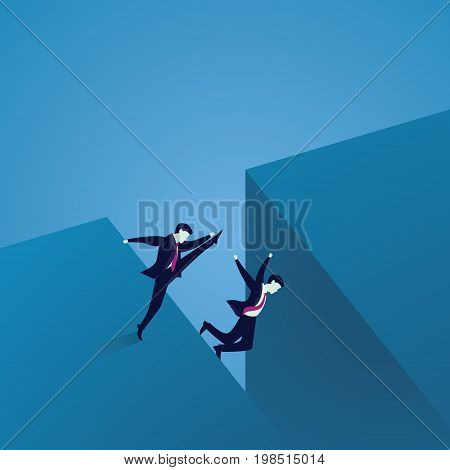 Vector illustration. Bad business competition concept. A businessman kicking to make his rival falling down to the cliff of challenge