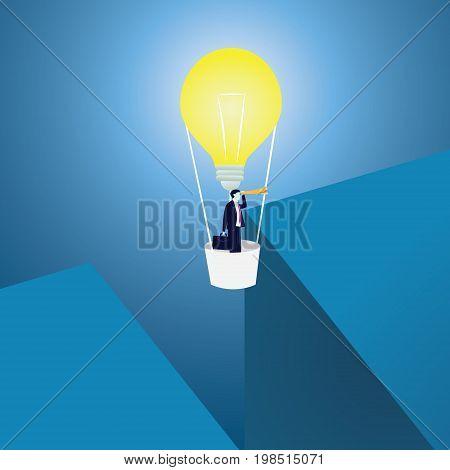 Business Idea Concept. Businessman Across Gap With idea Baloon