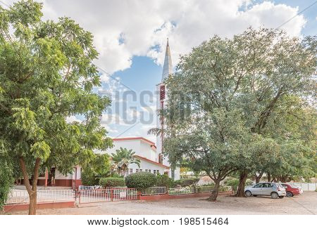 TSUMEB, NAMIBIA - JUNE 20, 2017: The Dutch Reformed Church in Tsumeb