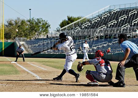 MESA, AZ - NOV 20: Will Rhymes of the Mesa Solar Sox swings at a pitch in the Arizona Fall League baseball game with the Scottsdale Scorpions on November 20, 2008 in Mesa, Arizona.